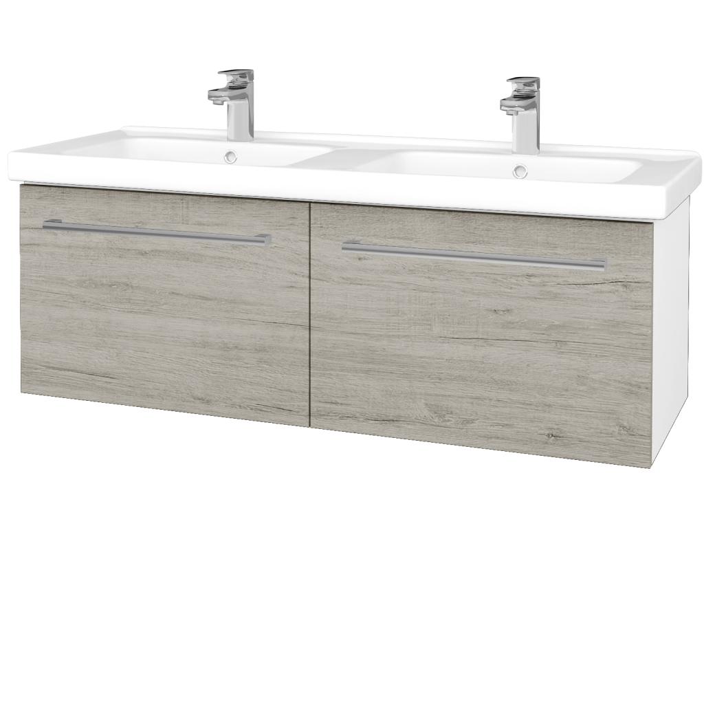 Dreja - Kúpeľňová skriňa BIG INN SZZ2 125 - N01 Bílá lesk / Úchytka T03 / D05 Oregon (28728C)