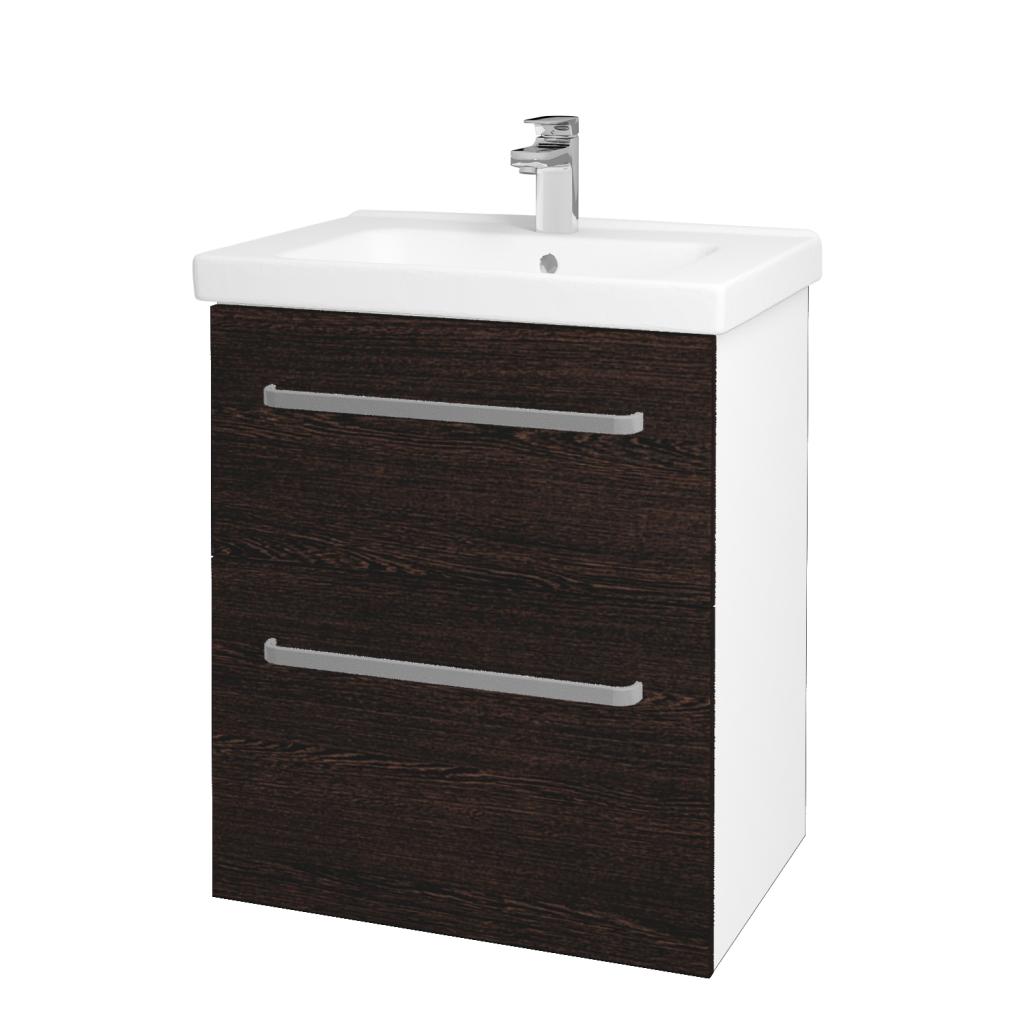 Dreja - Kúpeľňová skriňa BIG INN SZZ2 65 - N01 Bílá lesk / Úchytka T01 / D08 Wenge (132866A)