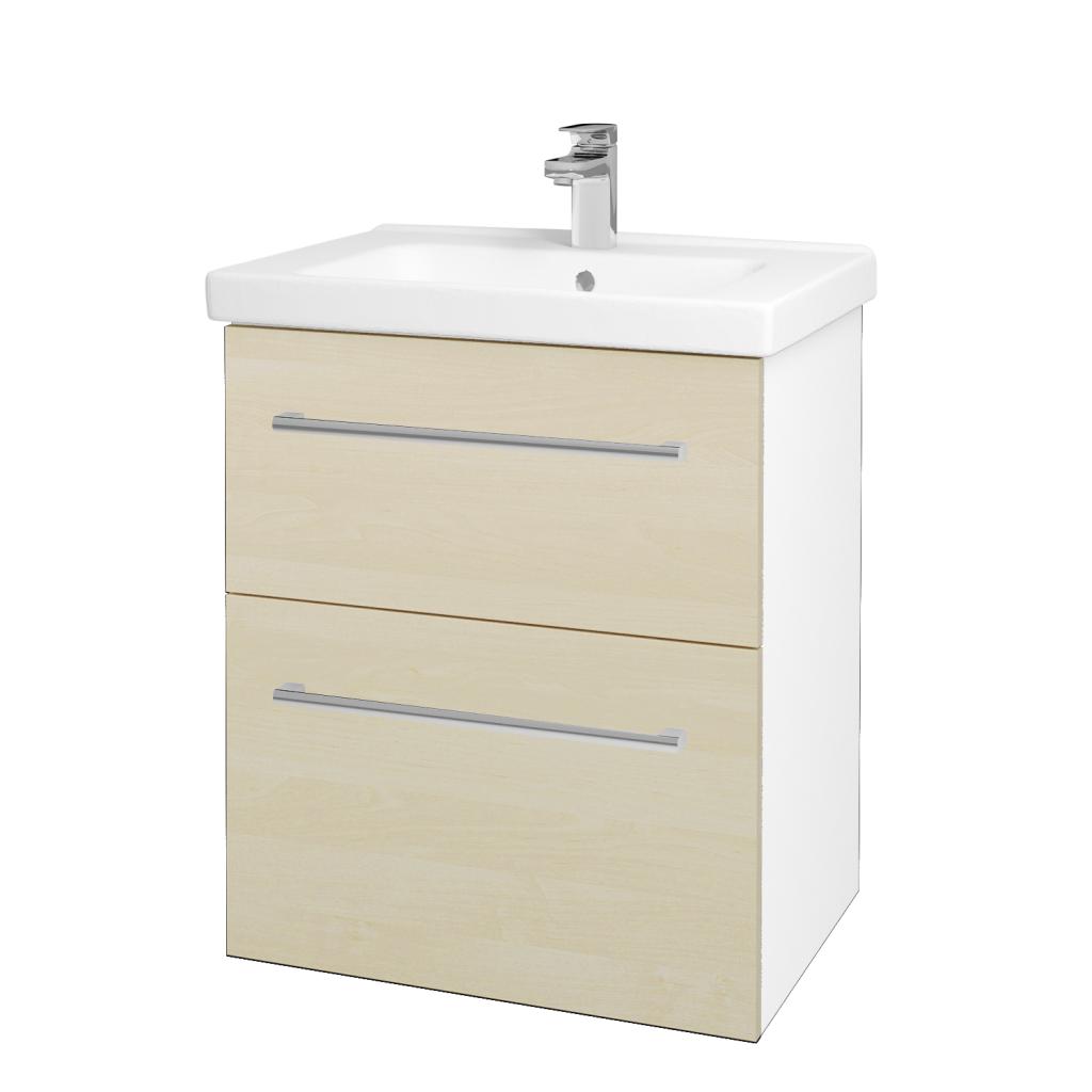 Dreja - Kúpeľňová skriňa BIG INN SZZ2 65 - N01 Bílá lesk / Úchytka T03 / D02 Bříza (132811C)