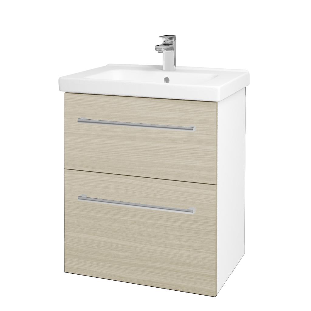 Dreja - Kúpeľňová skriňa BIG INN SZZ2 65 - N01 Bílá lesk / Úchytka T03 / D04 Dub (132835C)