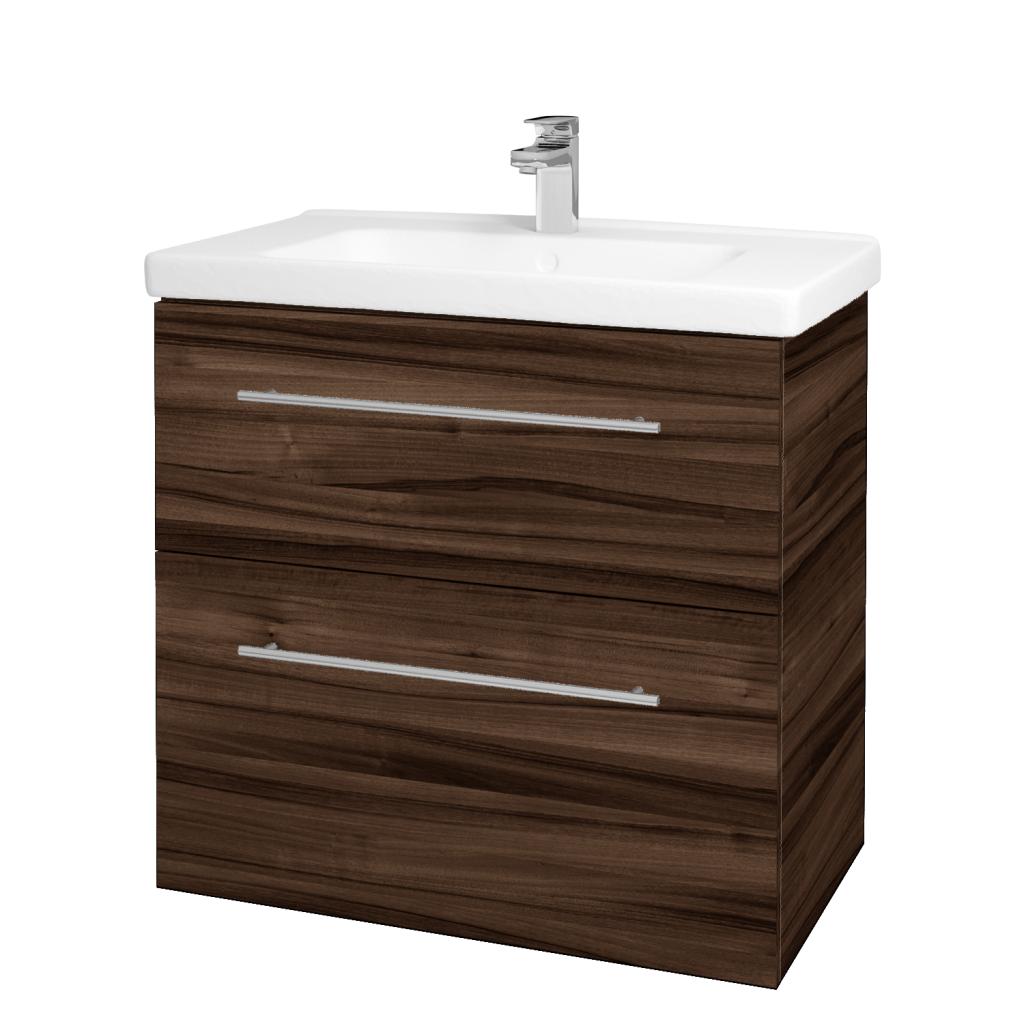 Dreja - Kúpeľňová skriňa BIG INN SZZ2 80 - D06 Ořech / Úchytka T02 / D06 Ořech (133092B)