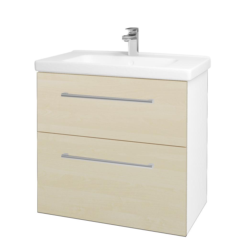Dreja - Kúpeľňová skriňa BIG INN SZZ2 80 - N01 Bílá lesk / Úchytka T03 / D02 Bříza (132873C)