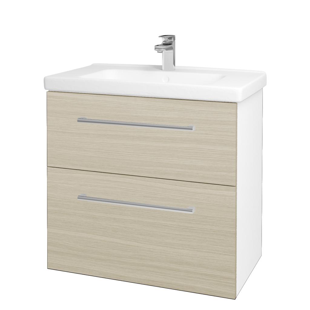 Dreja - Kúpeľňová skriňa BIG INN SZZ2 80 - N01 Bílá lesk / Úchytka T03 / D04 Dub (132897C)