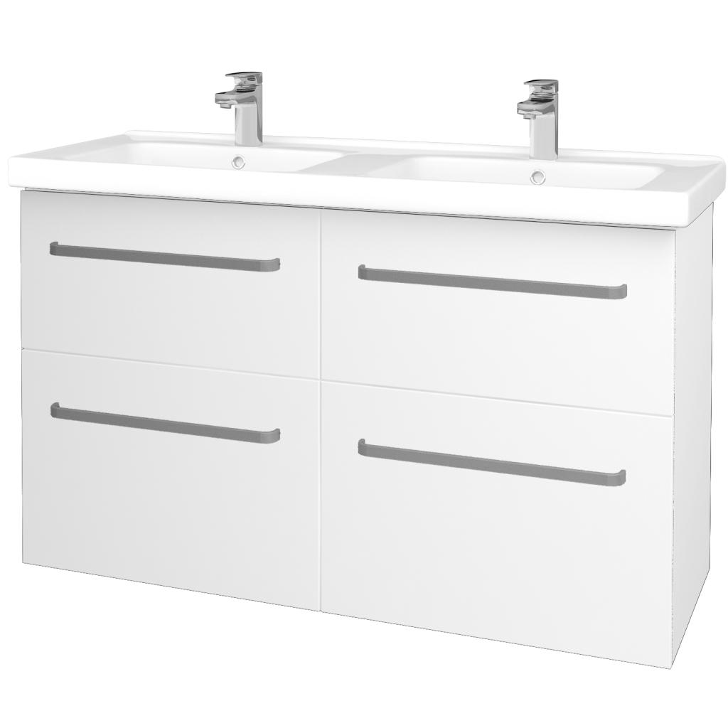Dreja - Kúpeľňová skriňa BIG INN SZZ4 125 - N01 Bílá lesk / Úchytka T01 / L01 Bílá vysoký lesk (27257A)