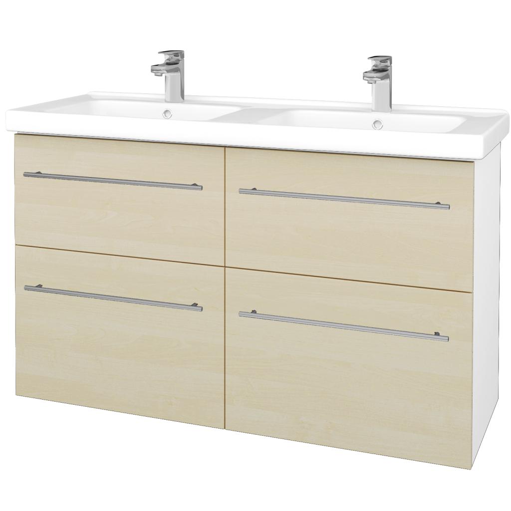 Dreja - Kúpeľňová skriňa BIG INN SZZ4 125 - N01 Bílá lesk / Úchytka T02 / D02 Bříza (27554B)