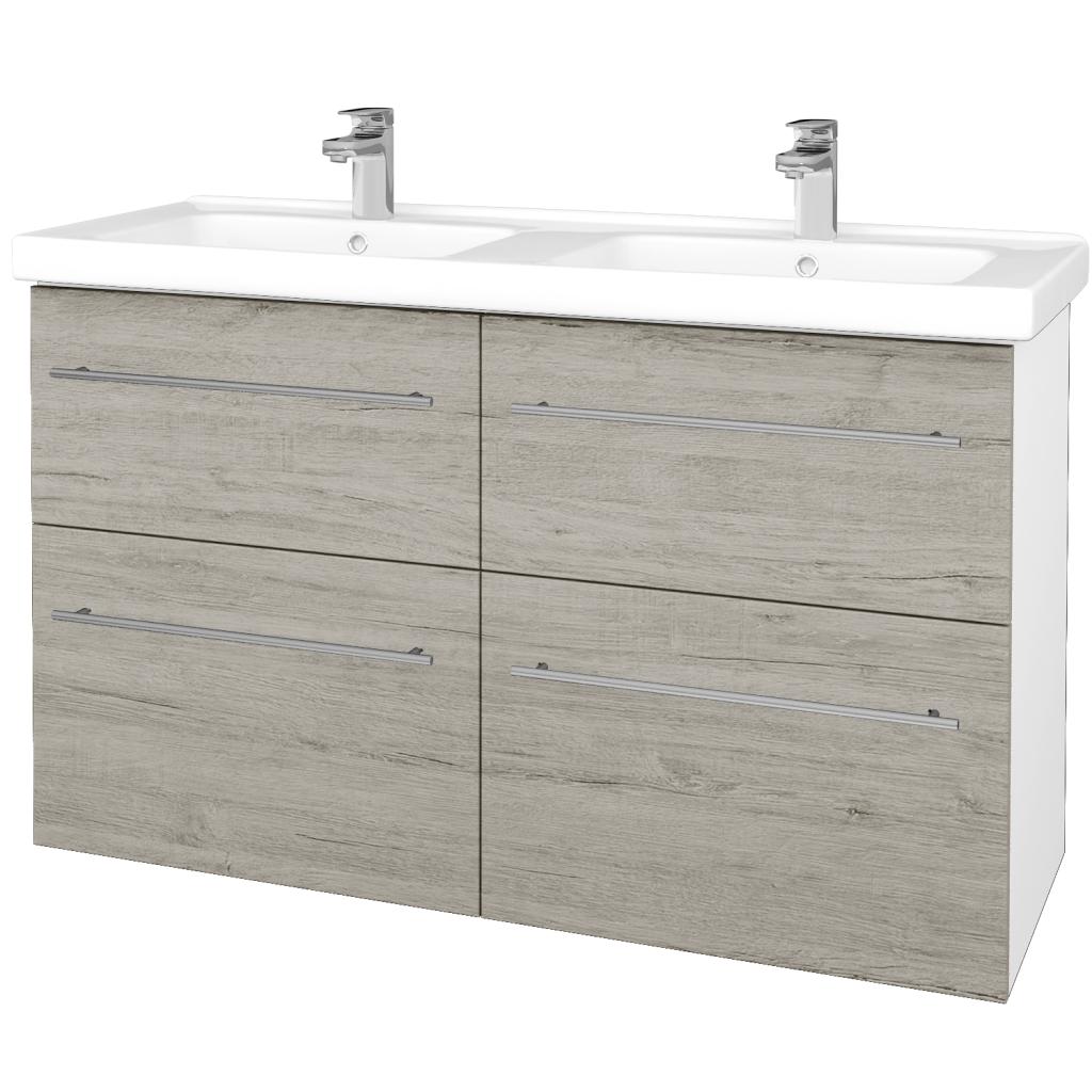 Dreja - Kúpeľňová skriňa BIG INN SZZ4 125 - N01 Bílá lesk / Úchytka T02 / D05 Oregon (27455B)