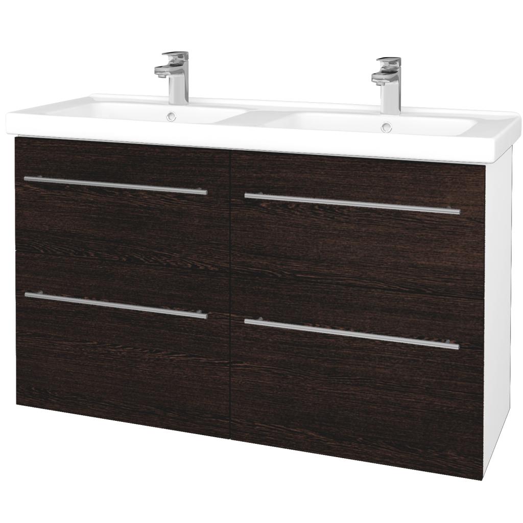 Dreja - Kúpeľňová skriňa BIG INN SZZ4 125 - N01 Bílá lesk / Úchytka T02 / D08 Wenge (27608B)