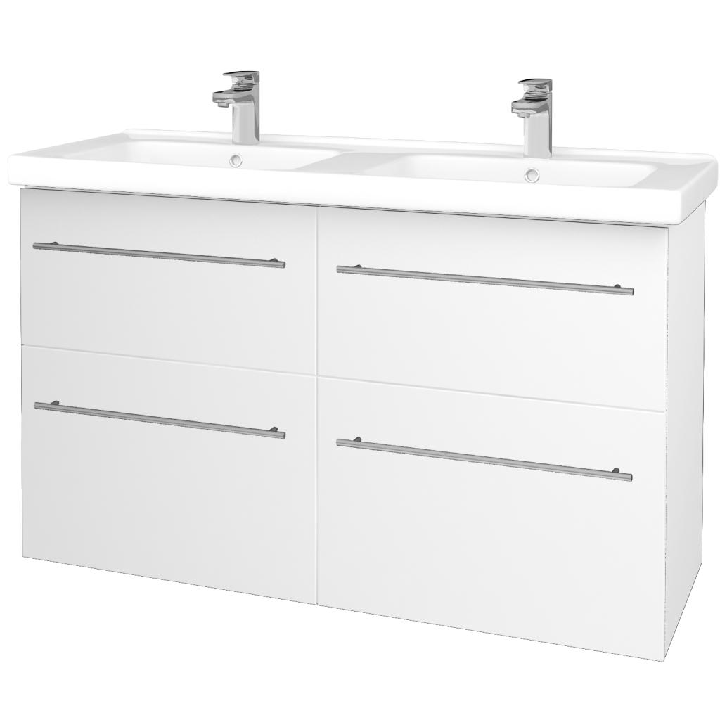 Dreja - Kúpeľňová skriňa BIG INN SZZ4 125 - N01 Bílá lesk / Úchytka T02 / L01 Bílá vysoký lesk (27257B)