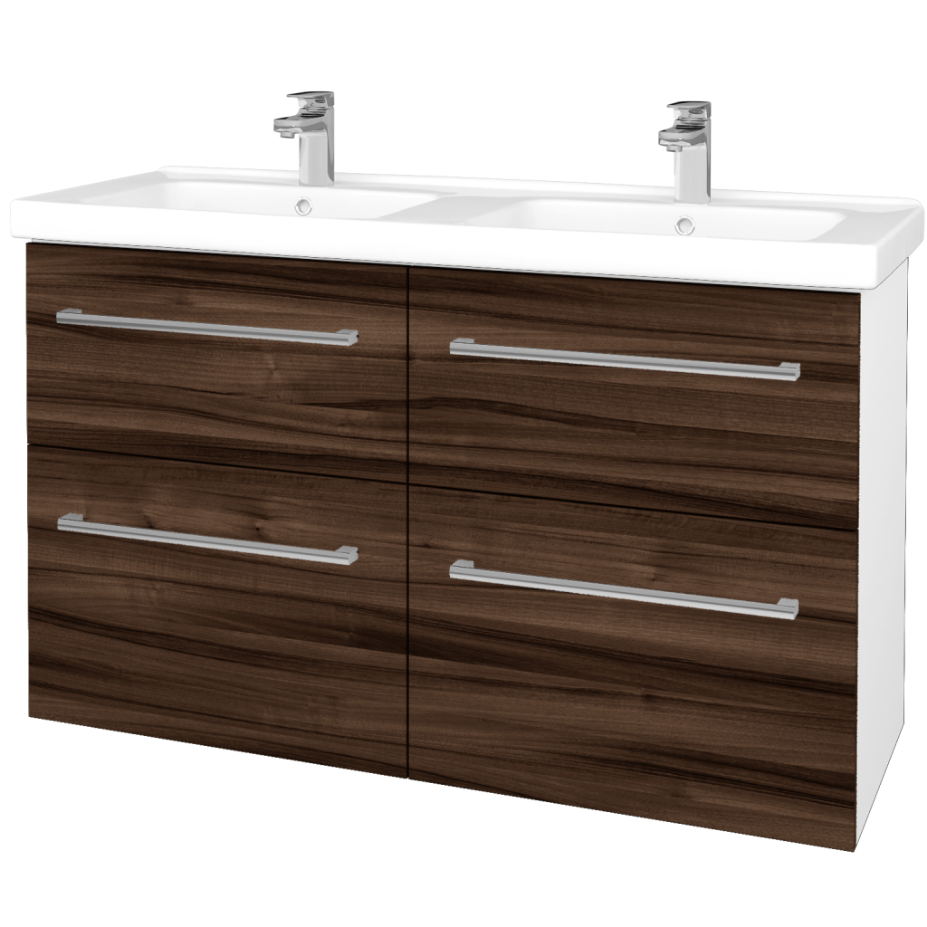 Dreja - Kúpeľňová skriňa BIG INN SZZ4 125 - N01 Bílá lesk / Úchytka T03 / D06 Ořech (27509C)