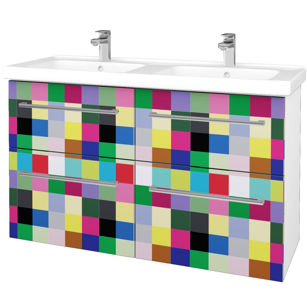 Dreja - Kúpeľňová skriňa BIG INN SZZ4 125 - N01 Bílá lesk / Úchytka T03 / IND Individual (27301C)