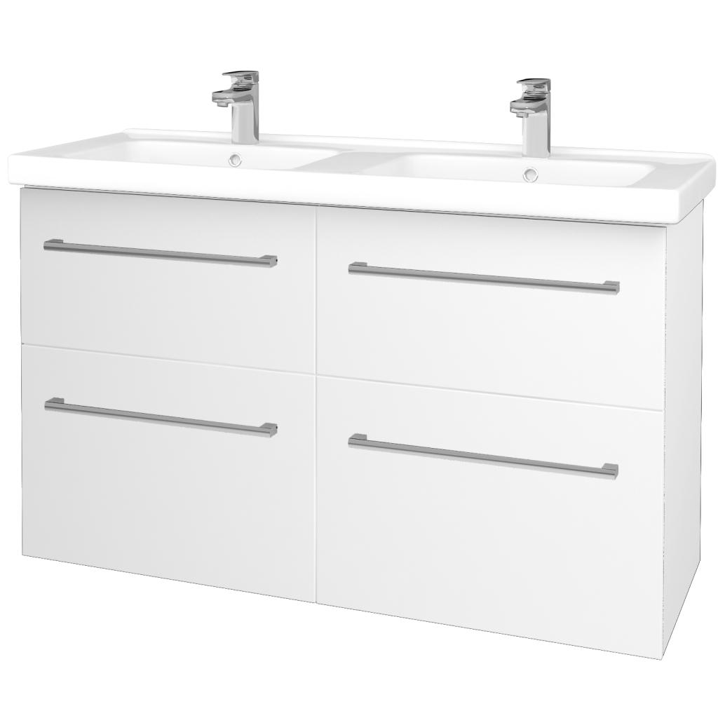 Dreja - Kúpeľňová skriňa BIG INN SZZ4 125 - N01 Bílá lesk / Úchytka T03 / L01 Bílá vysoký lesk (27257C)