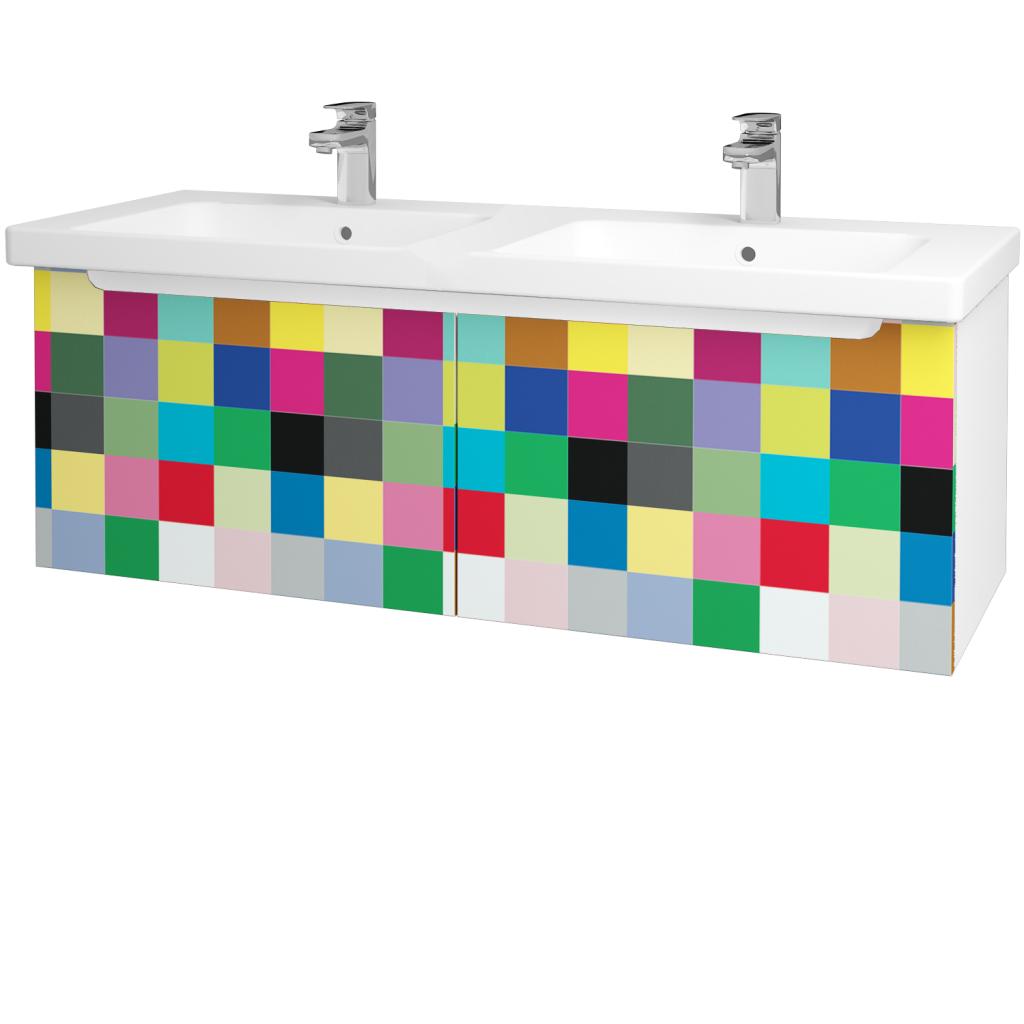 Dreja - Kúpeľňová skriňa COLOR SZZ2 125 - N01 Bílá lesk / IND Individual (23808)
