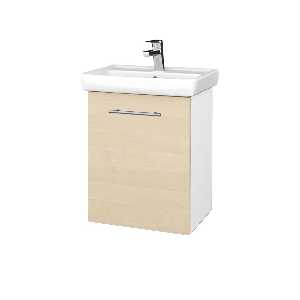 Dreja - Kúpeľňová skriňa DOOR SZD 50 - N01 Bílá lesk / Úchytka T02 / D02 Bříza / Levé (340537B)