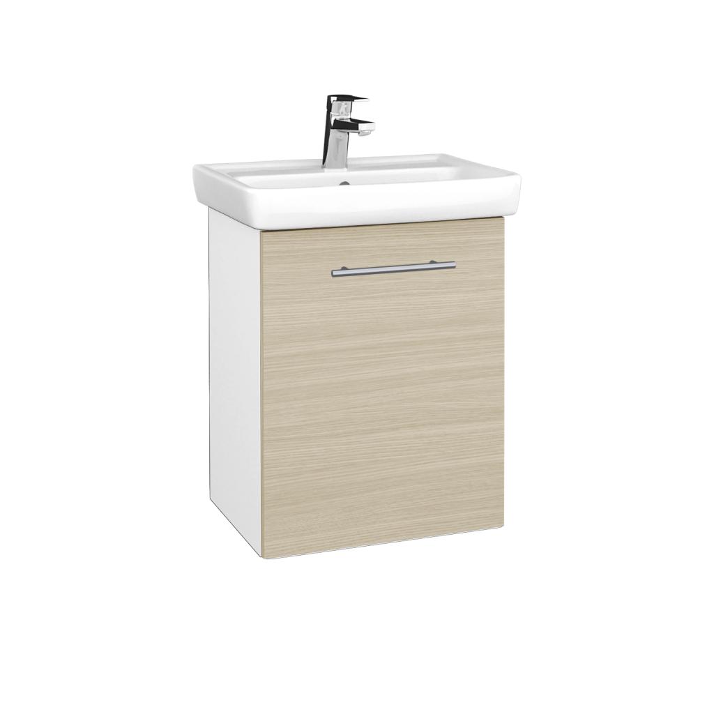 Dreja - Kúpeľňová skriňa DOOR SZD 50 - N01 Bílá lesk / Úchytka T02 / D04 Dub / Pravé (340551BP)