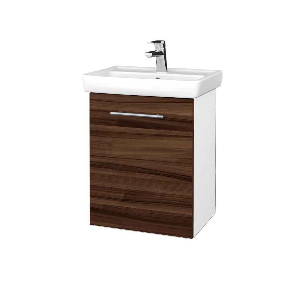 Dreja - Kúpeľňová skriňa DOOR SZD 50 - N01 Bílá lesk / Úchytka T02 / D06 Ořech / Levé (340575B)