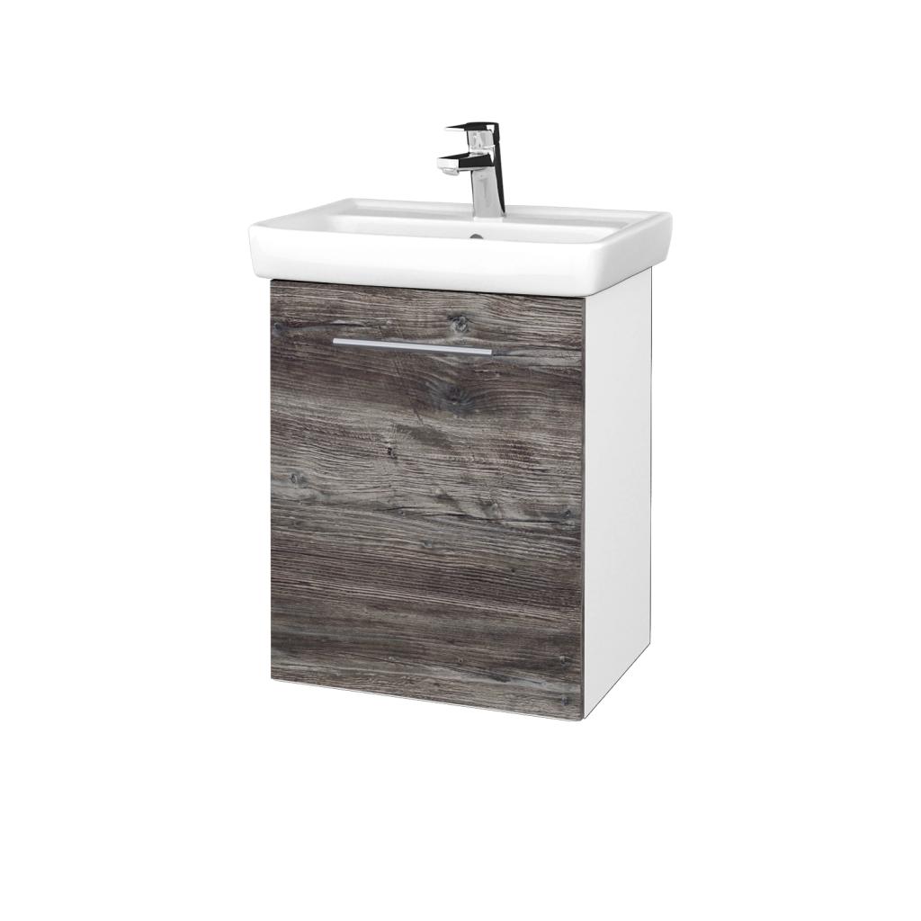 Dreja - Kúpeľňová skriňa DOOR SZD 50 - N01 Bílá lesk / Úchytka T02 / D10 Borovice Jackson / Levé (340605B)