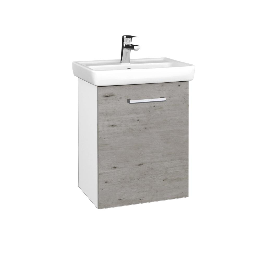 Dreja - Kúpeľňová skriňa DOOR SZD 50 - N01 Bílá lesk / Úchytka T03 / D01 Beton / Pravé (340520CP)
