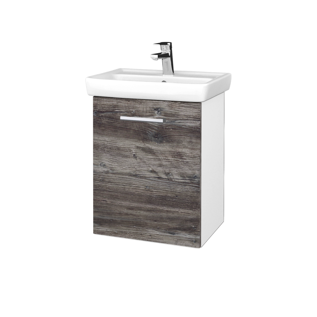 Dreja - Kúpeľňová skriňa DOOR SZD 50 - N01 Bílá lesk / Úchytka T03 / D10 Borovice Jackson / Levé (340605C)
