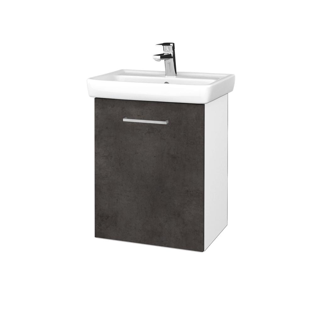 Dreja - Kúpeľňová skriňa DOOR SZD 50 - N01 Bílá lesk / Úchytka T04 / D16 Beton tmavý / Levé (340629E)