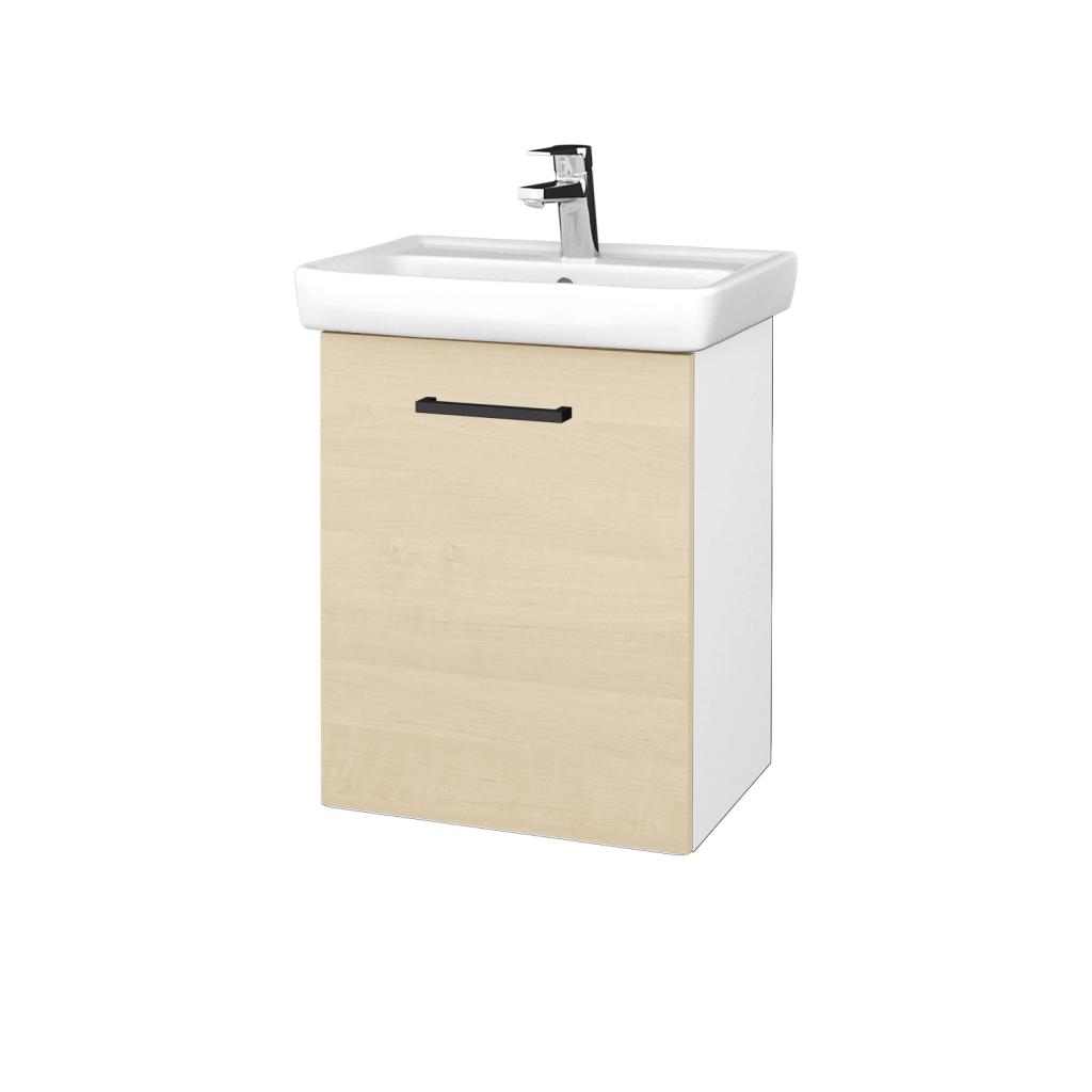 Dreja - Kúpeľňová skriňa DOOR SZD 50 - N01 Bílá lesk / Úchytka T06 / D02 Bříza / Levé (340537H)