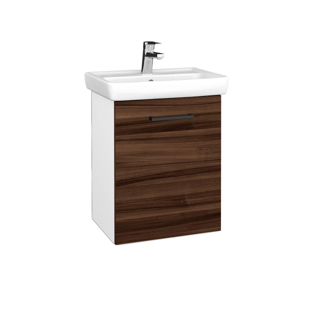 Dreja - Kúpeľňová skriňa DOOR SZD 50 - N01 Bílá lesk / Úchytka T06 / D06 Ořech / Pravé (340575HP)