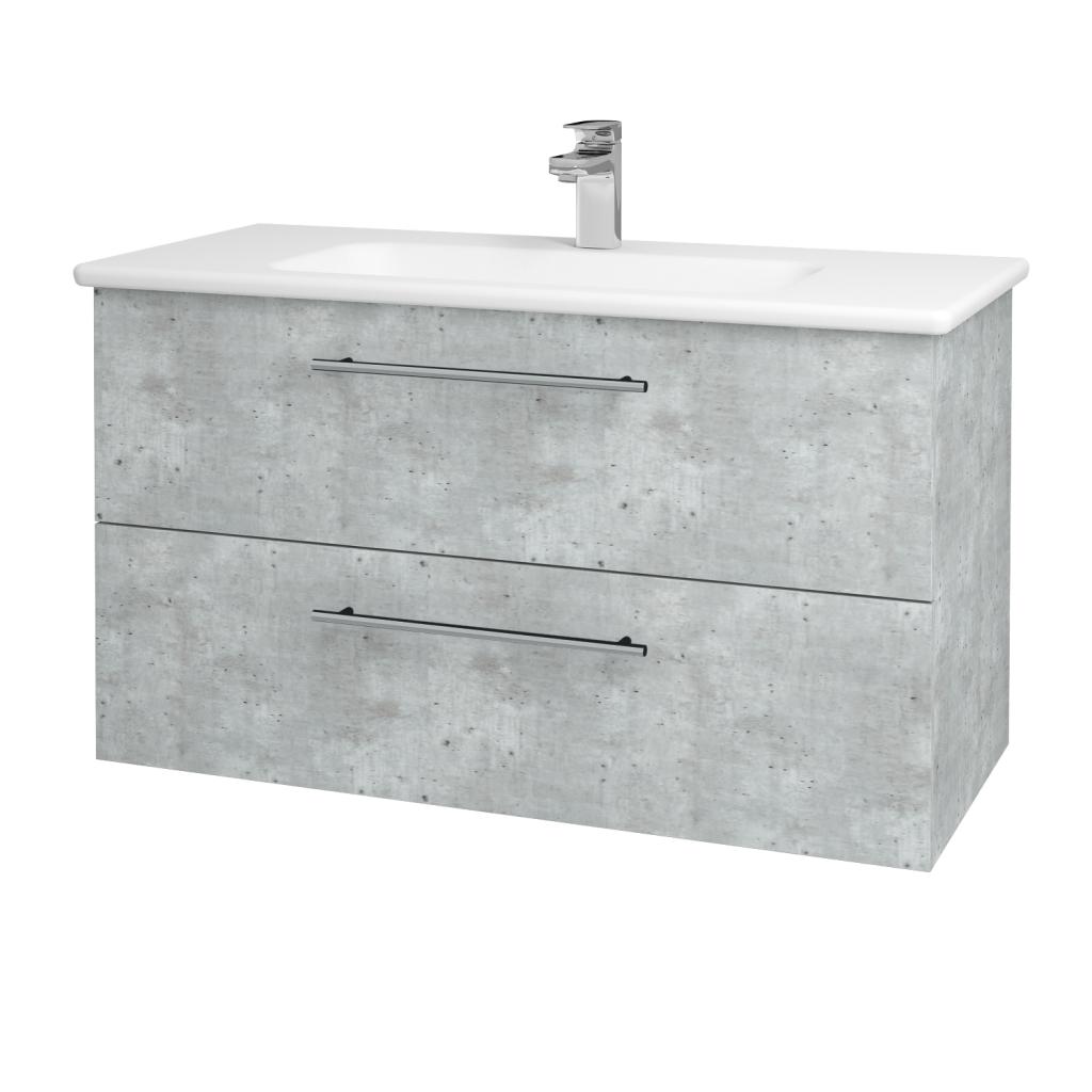 Dreja - Kúpeľňová skriňa GIO SZZ2 100 - D01 Beton / Úchytka T02 / D01 Beton (130626B)