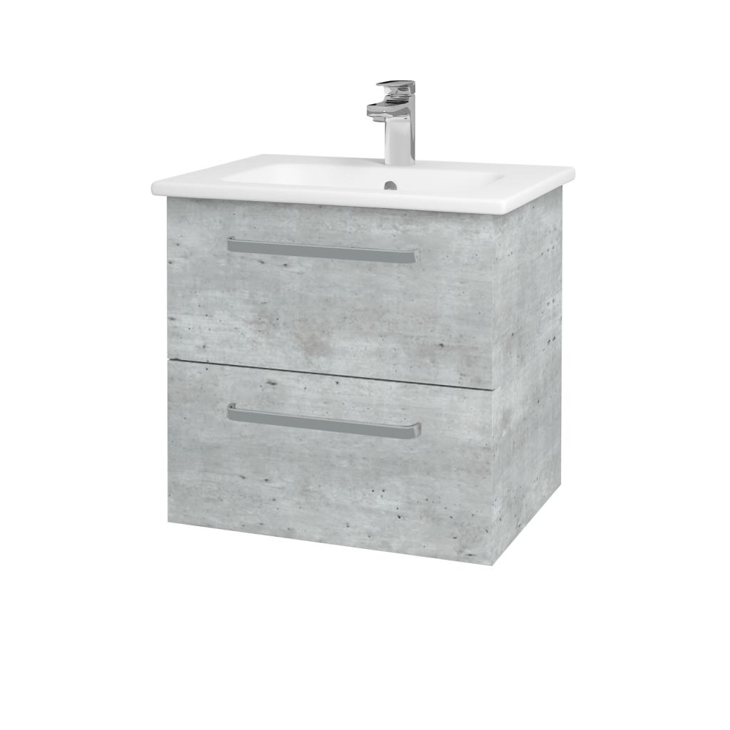 Dreja - Kúpeľňová skriňa GIO SZZ2 60 - D01 Beton / Úchytka T01 / D01 Beton (82935A)