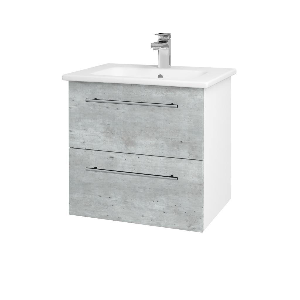 Dreja - Kúpeľňová skriňa GIO SZZ2 60 - N01 Bílá lesk / Úchytka T02 / D01 Beton (82829B)