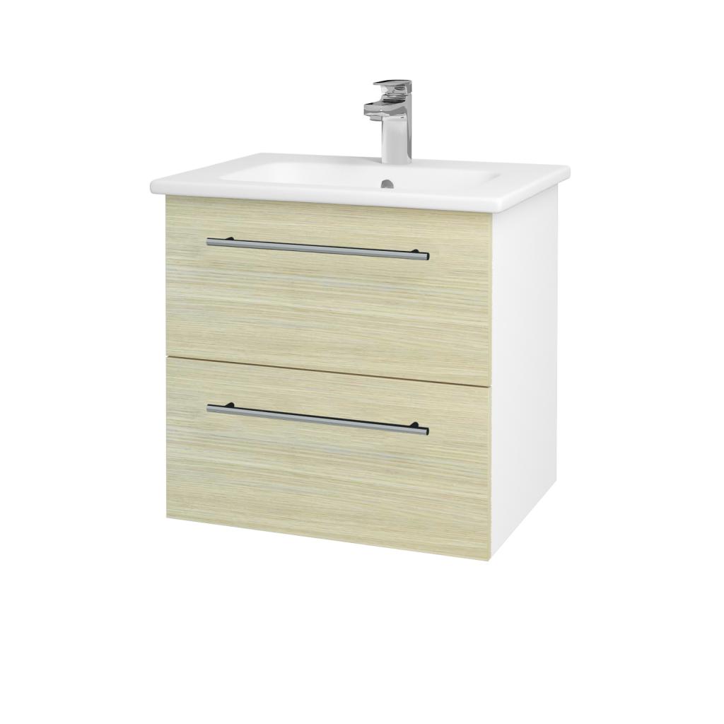 Dreja - Kúpeľňová skriňa GIO SZZ2 60 - N01 Bílá lesk / Úchytka T02 / D04 Dub (82775B)