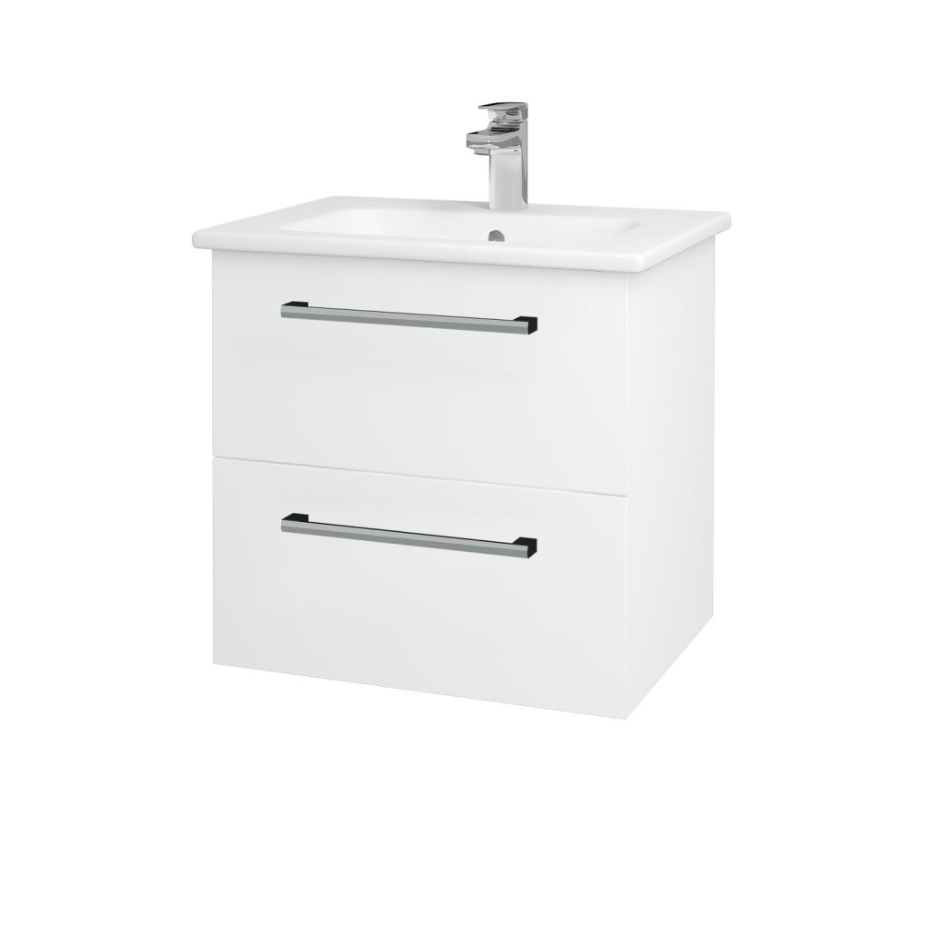 Dreja - Kúpeľňová skriňa GIO SZZ2 60 - N01 Bílá lesk / Úchytka T03 / L01 Bílá vysoký lesk (82751C)