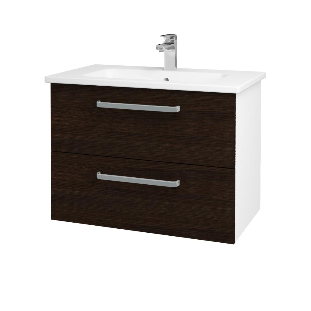 Dreja - Kúpeľňová skriňa GIO SZZ2 80 - N01 Bílá lesk / Úchytka T01 / D08 Wenge (81976A)