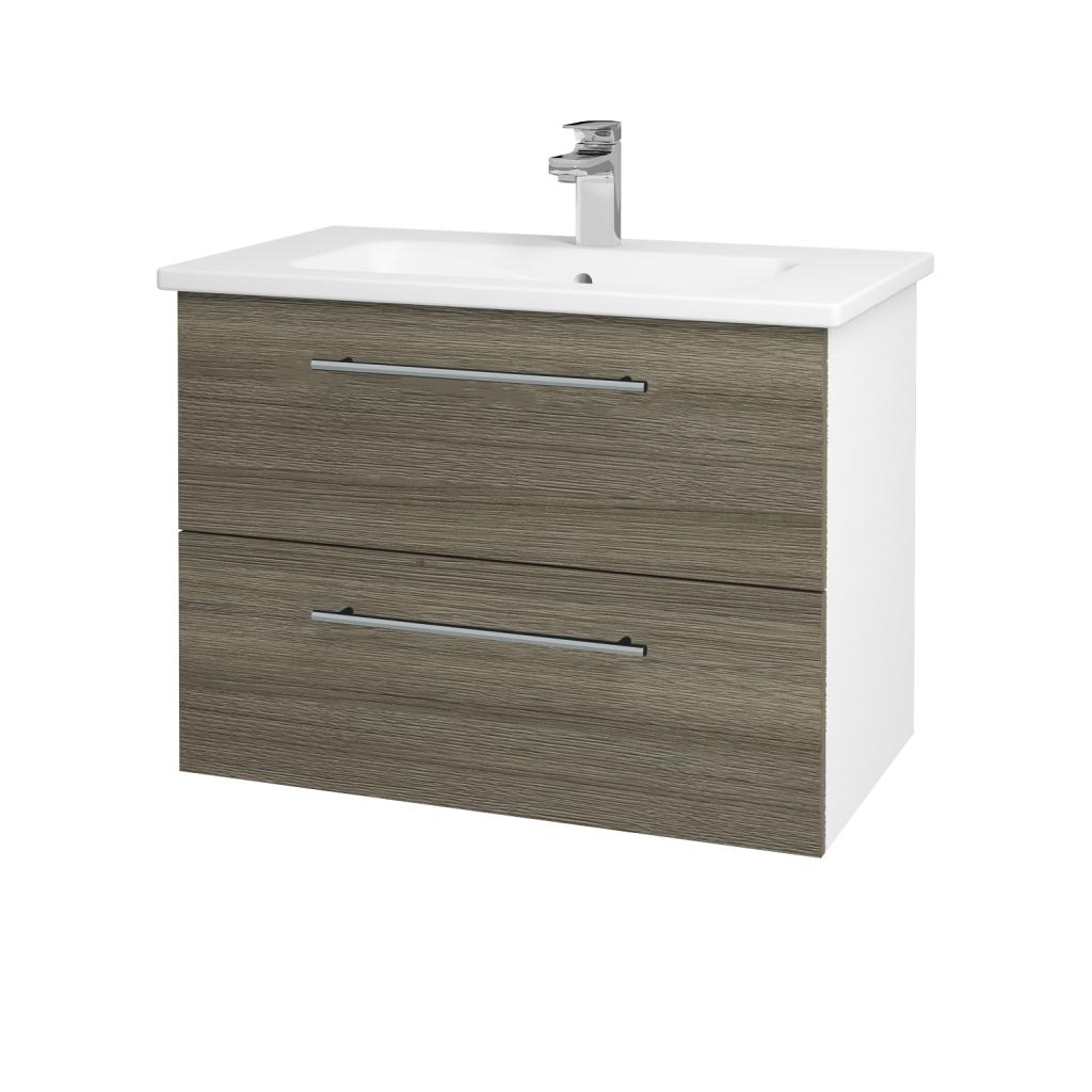 Dreja - Kúpeľňová skriňa GIO SZZ2 80 - N01 Bílá lesk / Úchytka T02 / D03 Cafe (81945B)
