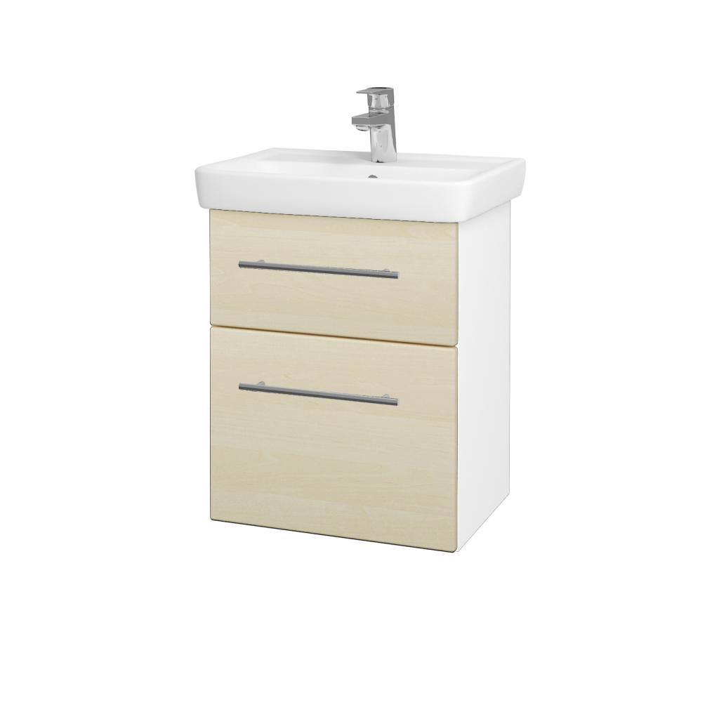 Dreja - Kúpeľňová skriňa GO SZZ2 50 - N01 Bílá lesk / Úchytka T02 / D02 Bříza (28001B)