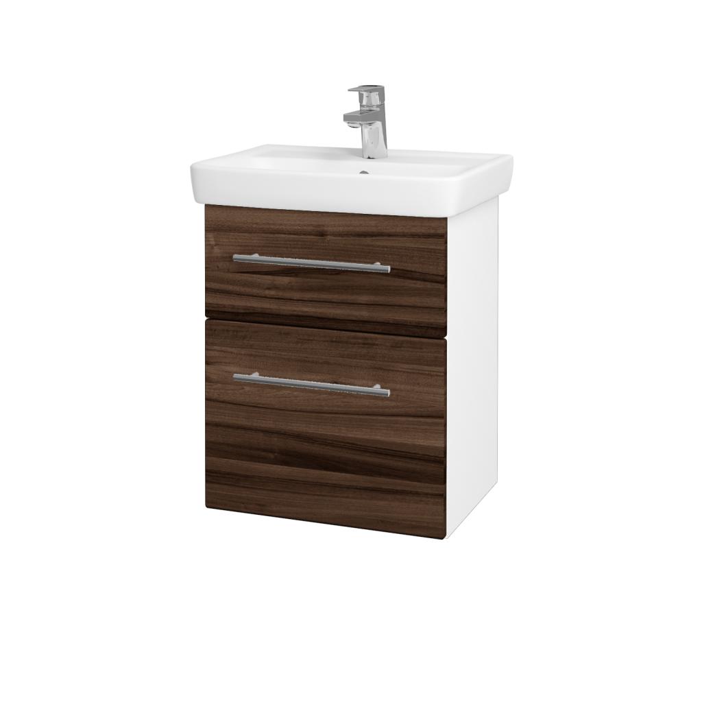 Dreja - Kúpeľňová skriňa GO SZZ2 50 - N01 Bílá lesk / Úchytka T02 / D06 Ořech (20678B)