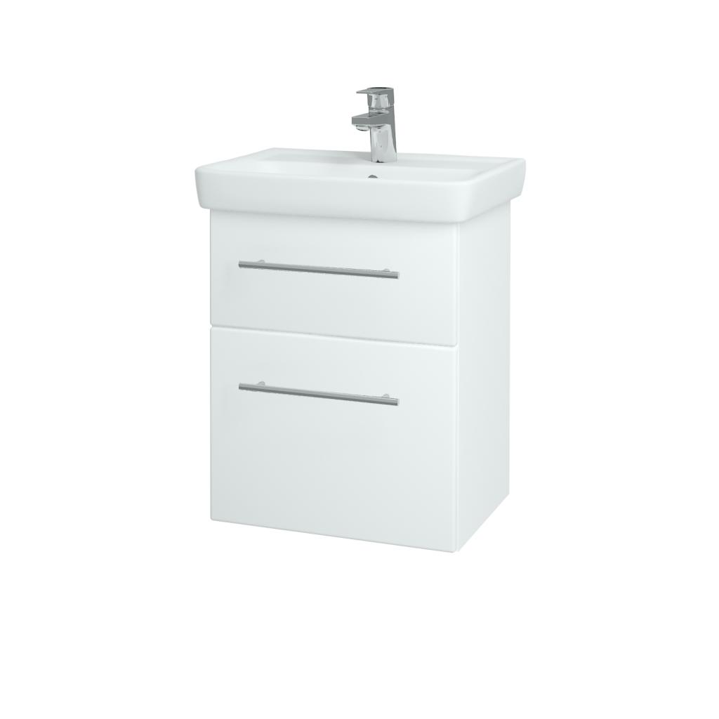 Dreja - Kúpeľňová skriňa GO SZZ2 50 - N01 Bílá lesk / Úchytka T02 / L01 Bílá vysoký lesk (20685B)