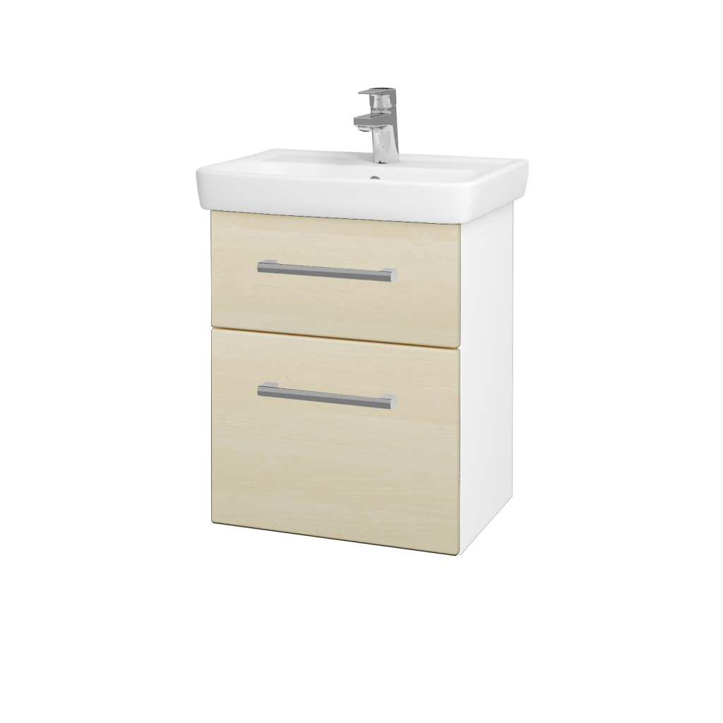 Dreja - Kúpeľňová skriňa GO SZZ2 50 - N01 Bílá lesk / Úchytka T03 / D02 Bříza (28001C)