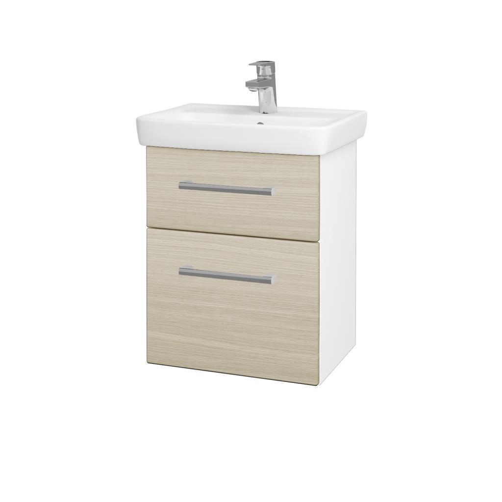Dreja - Kúpeľňová skriňa GO SZZ2 50 - N01 Bílá lesk / Úchytka T03 / D04 Dub (27943C)