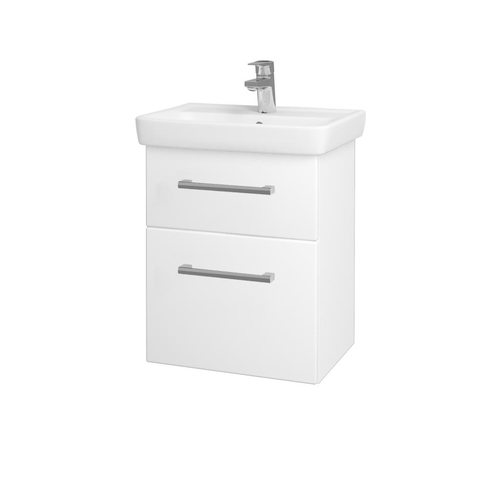 Dreja - Kúpeľňová skriňa GO SZZ2 50 - N01 Bílá lesk / Úchytka T03 / L01 Bílá vysoký lesk (20685C)