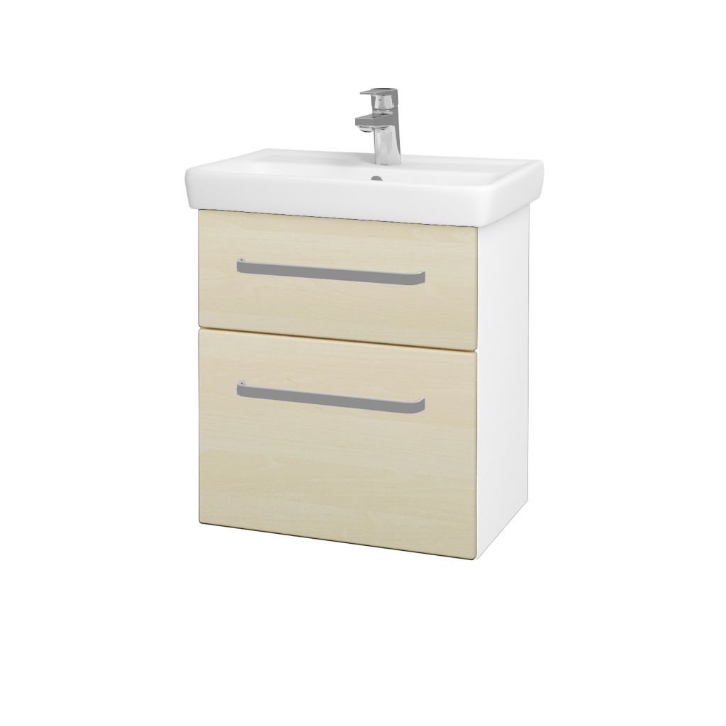 Dreja - Kúpeľňová skriňa GO SZZ2 55 - N01 Bílá lesk / Úchytka T01 / D02 Bříza (28018A)