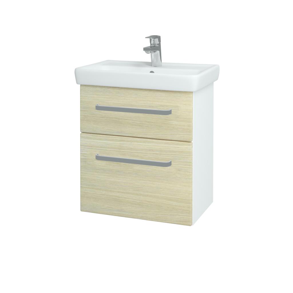 Dreja - Kúpeľňová skriňa GO SZZ2 55 - N01 Bílá lesk / Úchytka T01 / D04 Dub (27950A)