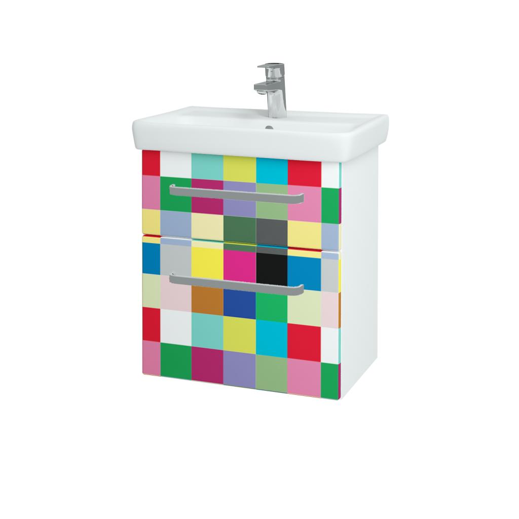 Dreja - Kúpeľňová skriňa GO SZZ2 55 - N01 Bílá lesk / Úchytka T01 / IND Individual (23822A)