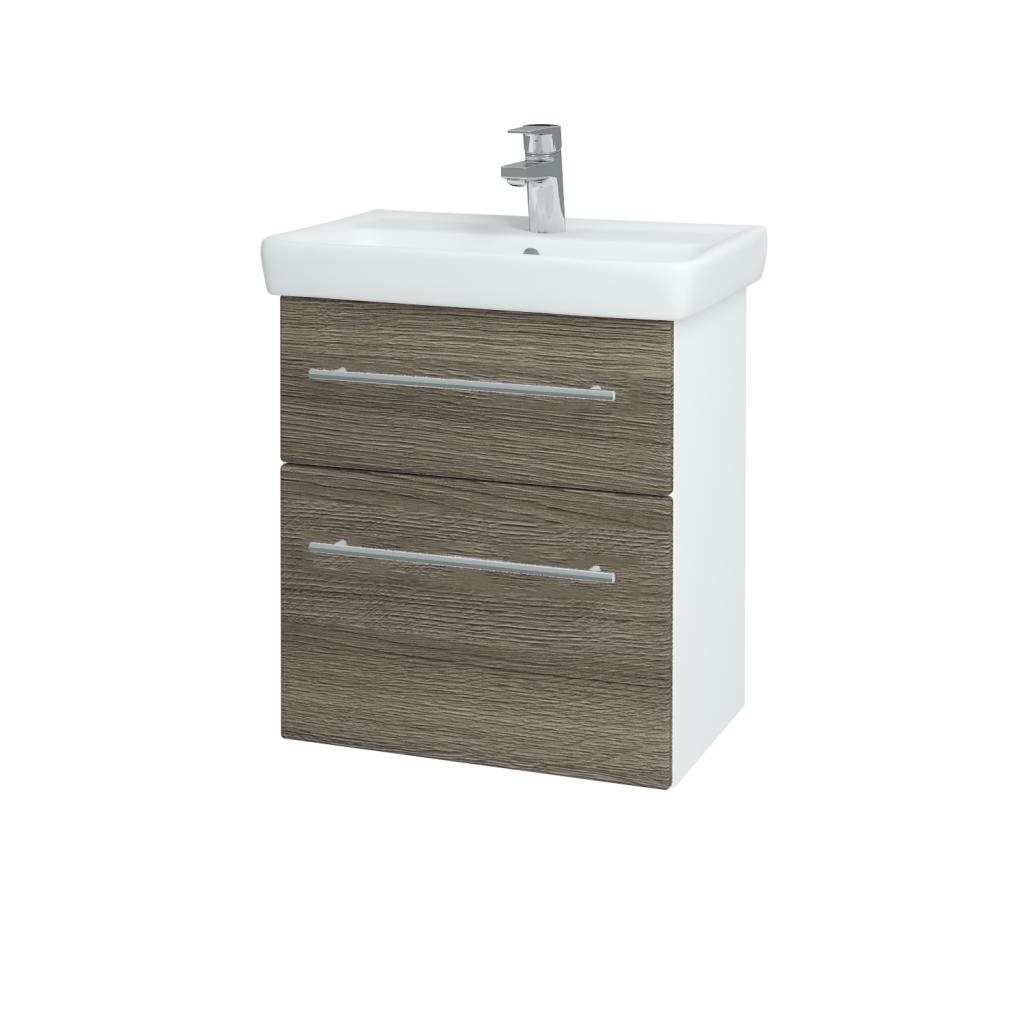 Dreja - Kúpeľňová skriňa GO SZZ2 55 - N01 Bílá lesk / Úchytka T02 / D03 Cafe (27929B)