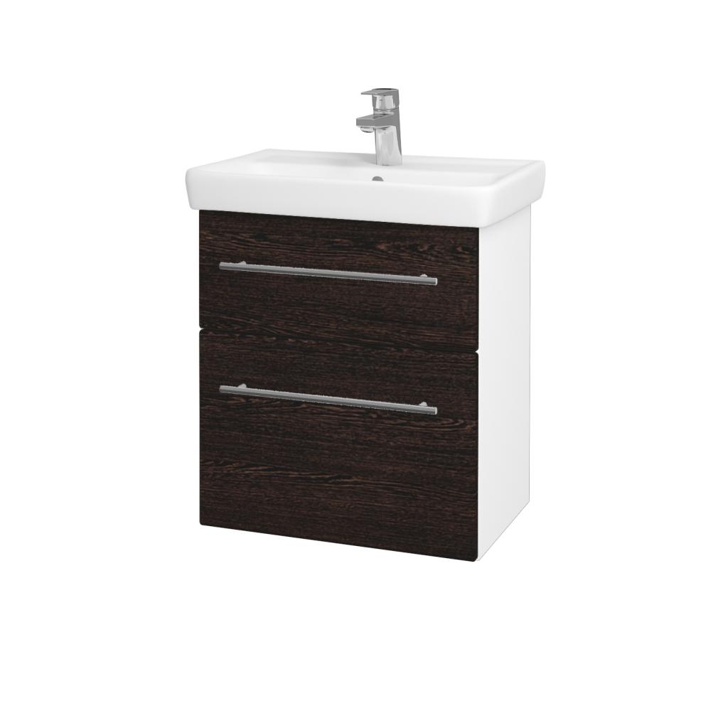 Dreja - Kúpeľňová skriňa GO SZZ2 55 - N01 Bílá lesk / Úchytka T02 / D08 Wenge (28049B)