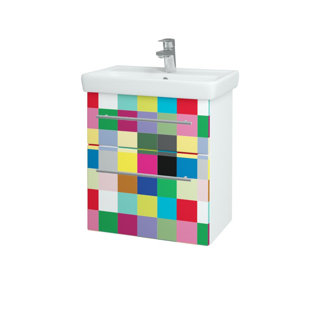 Dreja - Kúpeľňová skriňa GO SZZ2 55 - N01 Bílá lesk / Úchytka T02 / IND Individual (23822B)