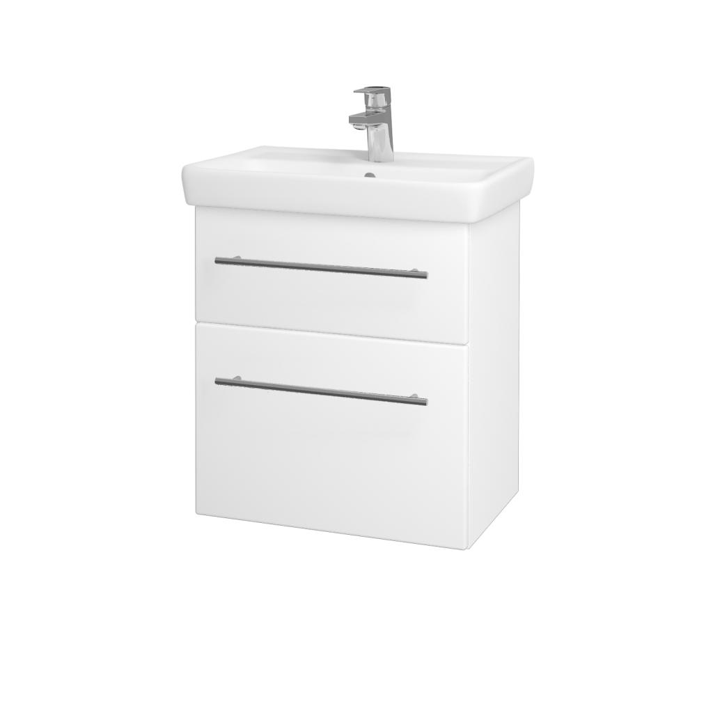 Dreja - Kúpeľňová skriňa GO SZZ2 55 - N01 Bílá lesk / Úchytka T02 / L01 Bílá vysoký lesk (20722B)