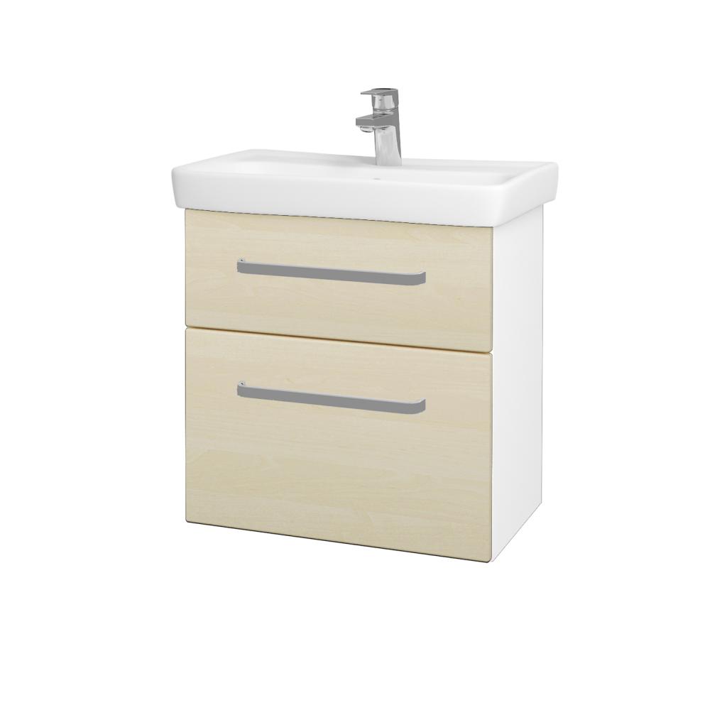 Dreja - Kúpeľňová skriňa GO SZZ2 60 - N01 Bílá lesk / Úchytka T01 / D02 Bříza (28025A)