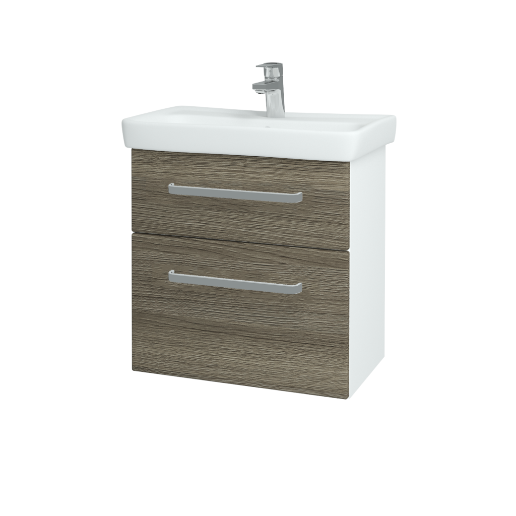 Dreja - Kúpeľňová skriňa GO SZZ2 60 - N01 Bílá lesk / Úchytka T01 / D03 Cafe (27936A)