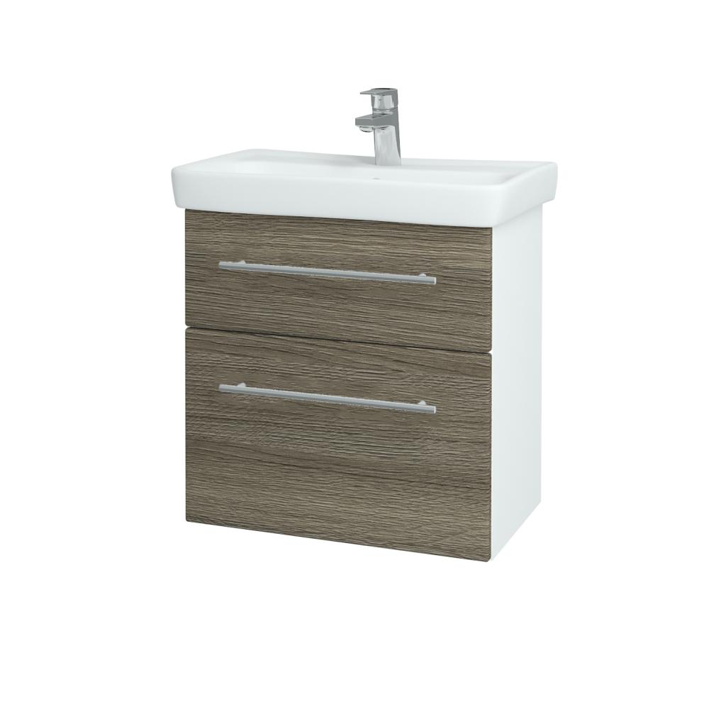 Dreja - Kúpeľňová skriňa GO SZZ2 60 - N01 Bílá lesk / Úchytka T02 / D03 Cafe (27936B)