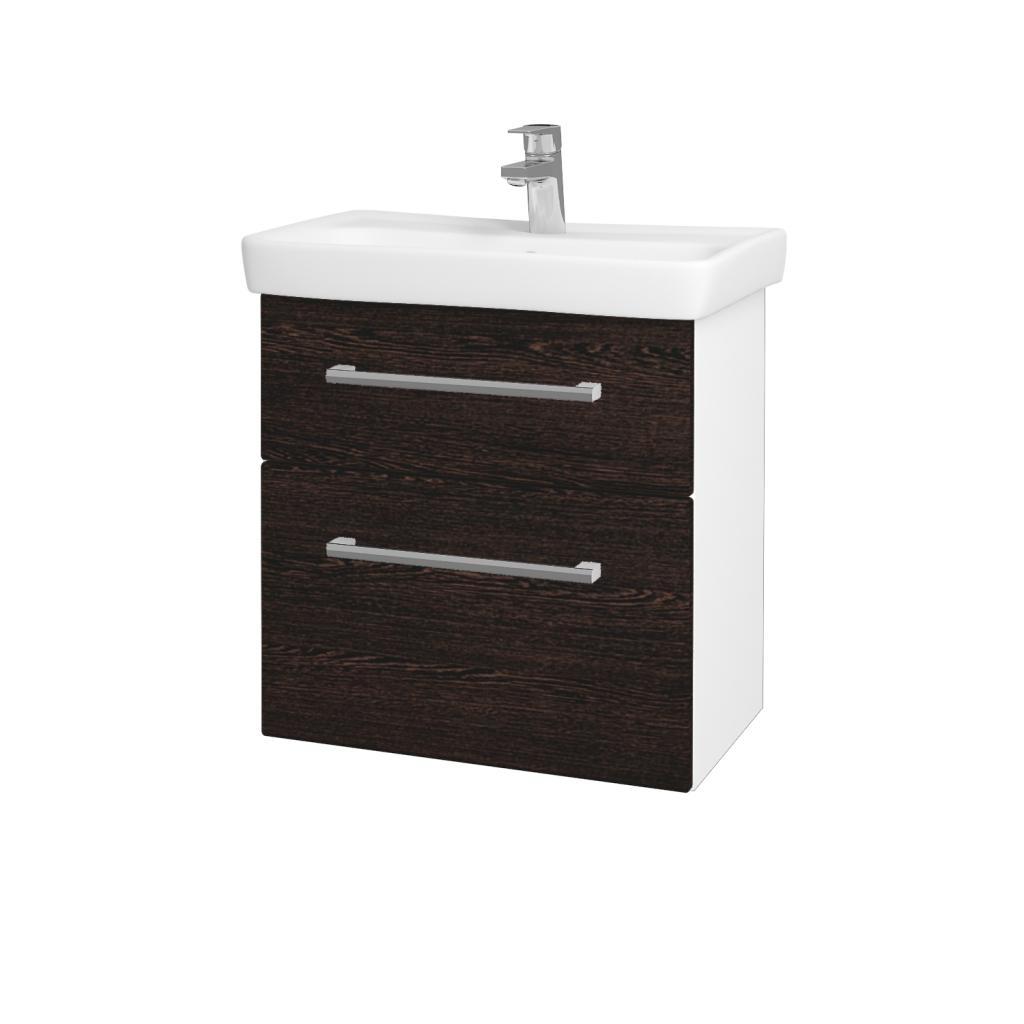Dreja - Kúpeľňová skriňa GO SZZ2 60 - N01 Bílá lesk / Úchytka T03 / D08 Wenge (28056C)