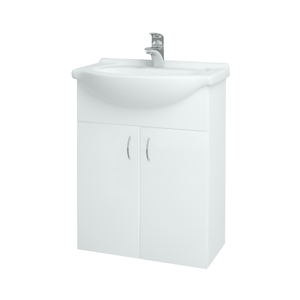 Dreja - Kúpeľňová skriňa PLUTO SZD2 60 - N01 Bílá lesk / N01 Bílá lesk (52334)
